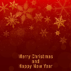 Christmas and New Year background. gold snowflakes and red background