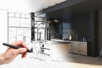 Hand drawing kitchen