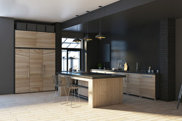 Contemporary loft black kitchen interior