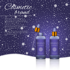 Vector 3D cosmetic illustration on a winter snowing background. Beauty realistic cosmetic product design template.