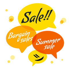 Vector illustration - Hand drawn speech bubble in flat design. Speech bubble colorful set. Summer Bubble with text Sale, Bargain sales, Summer sale.