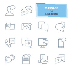 Message relation line universal icons set for web and mobile design