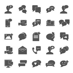 Message relation simple universal icons set for web and mobile design