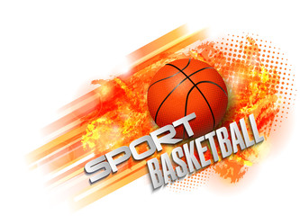 basketball ball and text abstract background sport