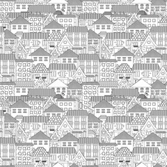 seamless texture with cozy houses for coloring book