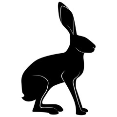 Vector image of hare silhouette