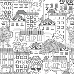 seamless texture with funny houses and trees for coloring book