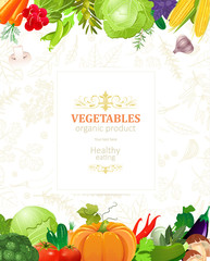 banner with border of vegetables for your design
