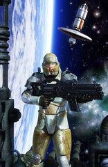 Wall Mural - futuristic soldier space marine trooper