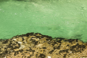 Closeup of river water in drinking water quality in the famous Vintgar gorge Canyon near Triglav Nationalpark, Slovenia