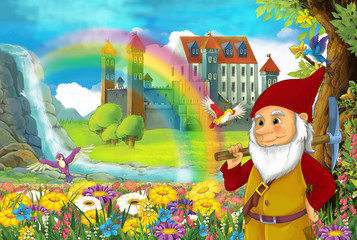cartoon fairy tale scene with smiling dwarf in the field full of flowers near small waterfall colorful rainbow and big castle illustration for children