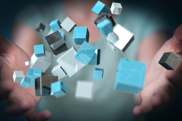 Businesswoman using floating blue shiny cube network 3D rendering