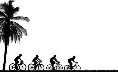 silhouette  cyclists bicycle riders