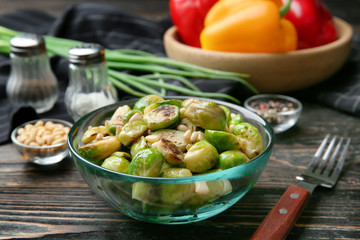 Bowl with roasted brussel sprouts on table