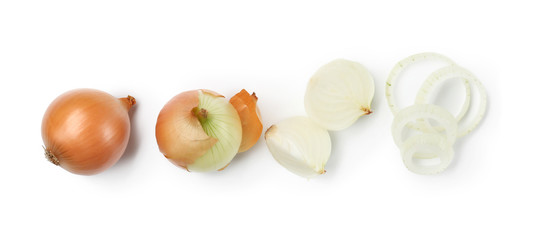 Fresh raw onion on white background Wall mural