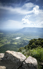 landscape view from Preah Vihear ancient temple ruins in Cambodia