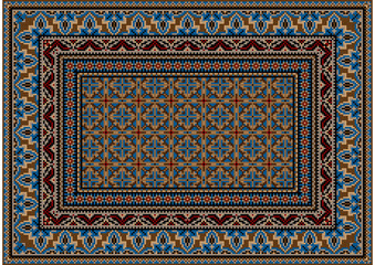 Luxurious colorful old design carpet with ethnic ornament of blue patterns and motley center in blue and brown tones