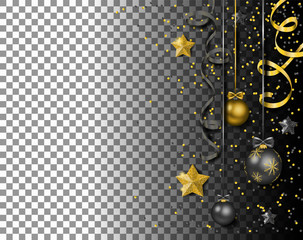 Wall Mural - Merry christmas new year balls with confetti streamers stars vector isolated