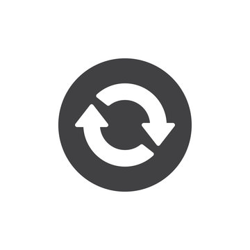 Reload two arrows in circle icon vector, filled flat sign, solid pictogram isolated on white. Process refresh symbol, logo illustration.