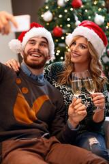 Christmas time - couple taking selfie on Christmas.