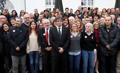 """Ousted Catalan leader Carles Puigdemont poses at the launch of a campaign for political platform """"Junts per Catalunya"""" ahead of the December 21, 2017 Catalan regional election, in Oostkamp, Belgium"""