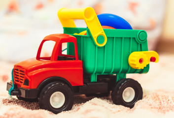 toy truck on the bed