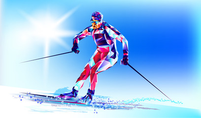Young man riding on skis on white background, winter, Olympic. Vector illustration in triangular style. Vector illustration in a geometric triangle of XXIII style Winter Olympics