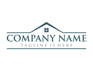 Roof and Windows of House Real Estate Company Logo Modern