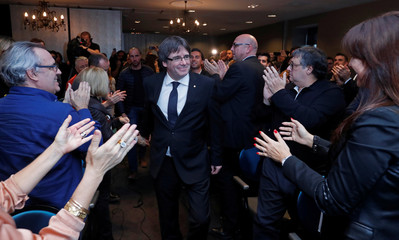 """Ousted Catalan leader Carles Puigdemont attends the launch of a campaign for political platform """"Junts per Catalunya"""" ahead of the December 21, 2017 Catalan regional election, in Oostkamp"""