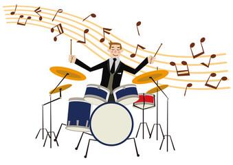 ドラムセット。楽器。音楽のクリップアート。ドラマー。