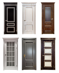 Set collage of different wooden vintage door isolated on white background