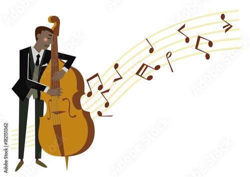 ベースを弾く男性ジャズミュージシャン音楽のクリップアート