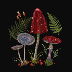 Embroidery mushrooms. Fly agarics, toadstools, forest art. Fashion nature template for clothes, textiles, t-shirt design