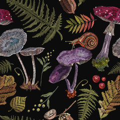 Embroidery mushrooms, berries, snails, autumn leaves, seamless pattern. Fashion nature template for clothes, textiles, t-shirt design