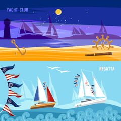 Yacht racing banner, sailing regatta. Sea adventure. Sailing in the wind through the waves. Water sports Nautical school