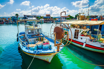 Fishing boat in harbor, Cyprus, Paphos district