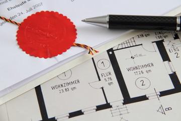 Notarsiegel mit Bauplan