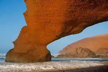 Legzira stone arch, ruined now, Atlantic Ocean, Morocco, Africa