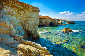 Sea caves on Coral bay coastline, Cyprus, Peyia, Paphos district
