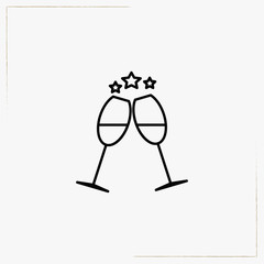 new year drink line icon