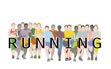 Marathon runners, Group of people running, Men and Women running with text running design using grunge brush graphic vector.
