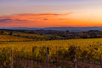 Wall Murals Cuban Red sunset over the chianti hills in autumn in province of Siena Tuscany Italy...