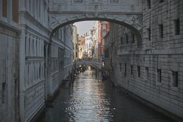 Aluminium Prints Venice Dark water course in Venice