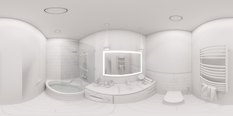 3d illustration spherical 360 degrees, seamless panorama of bathroom interior design. Modern Scandinavian style of interior. Bathroom without textures and materials