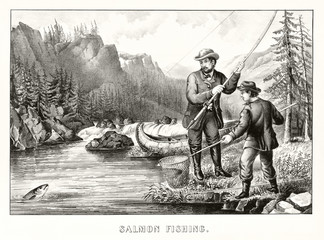 A man and a boy fishing a salmon with an ancient fishing pole in a river surrounded by a beautiful natural landscape. Old illustration by Currier & Ives, publ. in New York, 1872