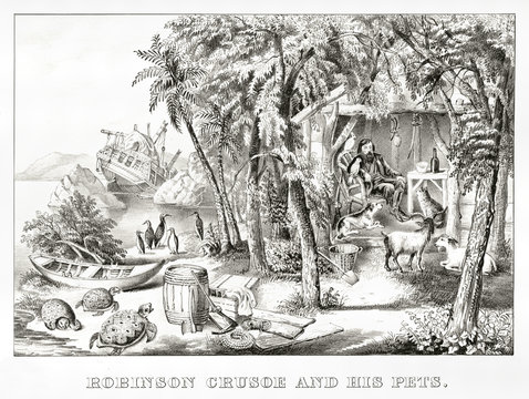 Robinson Crusoe in his island with his pets after the shipwreck. uncontaminated nature and broken ship in background. Old illustration by Currier & Ives, publ. in New York, 1874