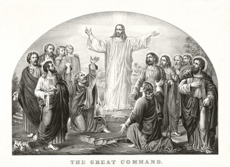 Jesus Christ appearing to his disciples in a strong light and preaching his Love Great Commandment. Old illustration by Currier & Ives, publ. in New York, 1849