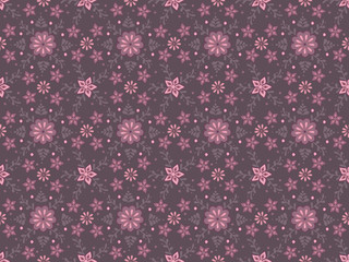 Detailed vector seamless pattern with flower ornament