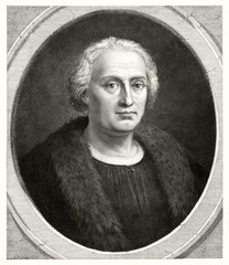 Old bust portrait of Christopher Columbus (1451 � 1506), Italian explorer and navigator. Old illustration by unidentified author, publ. in Washington, 1892