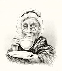 Humorous portrait of a elderly woman drinking tea and doing a little smile. Old illustration by unidentified author, publ. in New York, 1881